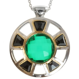 Michael Valitutti Two-tone Green Quartz and Black Spinel Necklace