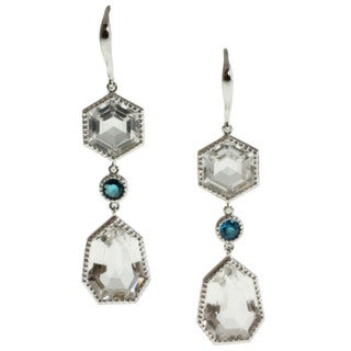 Michael Valitutti Silver Rock Crystal and Neon Apatite Earrings