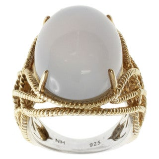 Michael Valitutti Two-tone Oval Lavender Chalcedony Ring