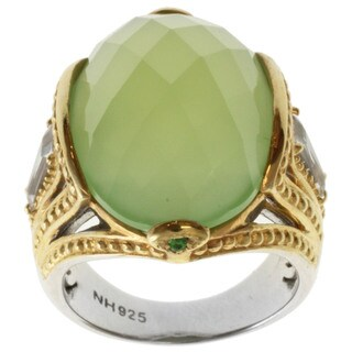 Michael Valitutti Two-tone Green Chalcedony and White Topaz Ring