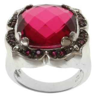 Michael Valitutti Sterling Silver Red Quartz and Ruby Ring