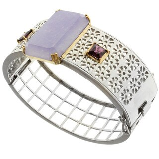 Michael Valitutti Sterling Silver Lavender Jade and Rhodolite Bangle