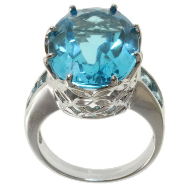 Michael Valitutti Sterling Silver Swiss Blue Topaz Ring
