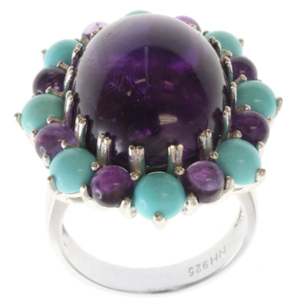 Michael Valitutti Silver Amethyst and Sleeping Beauty Turquoise Ring
