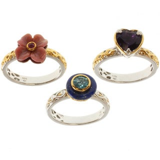 Michael Valitutti/ Dr. Robi Two-tone Multi-gemstone 3-piece Ring Set