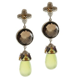 Michael Valitutti Two-tone Smokey Quartz, Amethyst and Apple Chalcedony Earrings