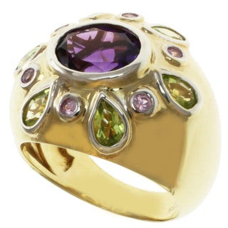 Michael Valitutti Two-tone Amethyst, Peridot and Pink Sapphire Ring