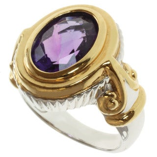 Michael Valitutti Two-tone Sterling Silver Amethyst Ring