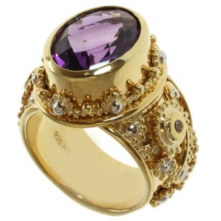 Michael Valitutti Zaffiro Two-tone Amethyst and White Sapphire Ring