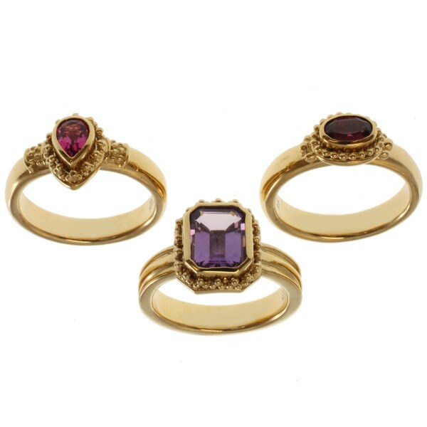 Michael Valitutti Zaffiro Amethyst, Rubelite and Rhodolite Stackable Ring Set