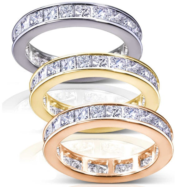 Annello by Kobelli 14k Gold 3ct TDW Princess Diamond Eternity Ring (H-I, I1-I2)