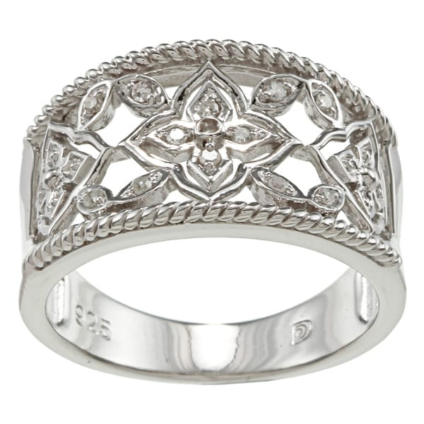 Sterling Silver Diamond Accent Openwork Floral Ring By Ever One