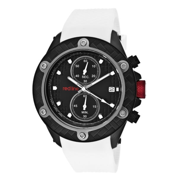 Red Line Men's 'Carbon Brake' White Textured Silicone Watch