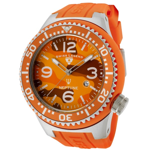 Swiss Legend Men's 'Neptune' Orange Silicone Watch