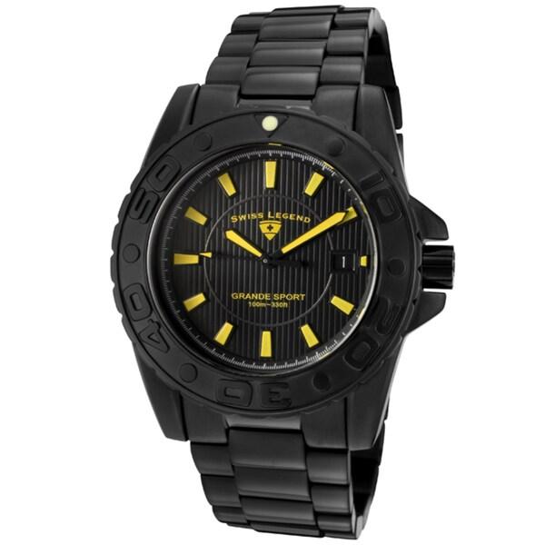 Swiss Legend Men's 'Grande Sport' Black IP Stainless Steel Watch