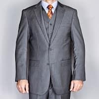 Men's Grey 2-Button Vested Suit