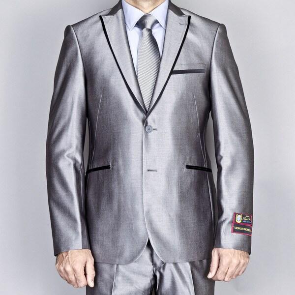 Giorgio Fiorelli Men's Silver Grey Modern Lapel Slim-Fit Suit
