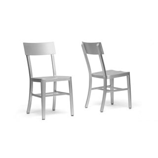 Groovy Helios Modern Aluminum Dining Chair Set Of 2 Overstock Com Shopping The Best Deals On Dining Chairs Machost Co Dining Chair Design Ideas Machostcouk