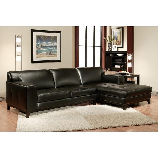 Abbyson Living Hampton Black Leather Sectional Sofa Free