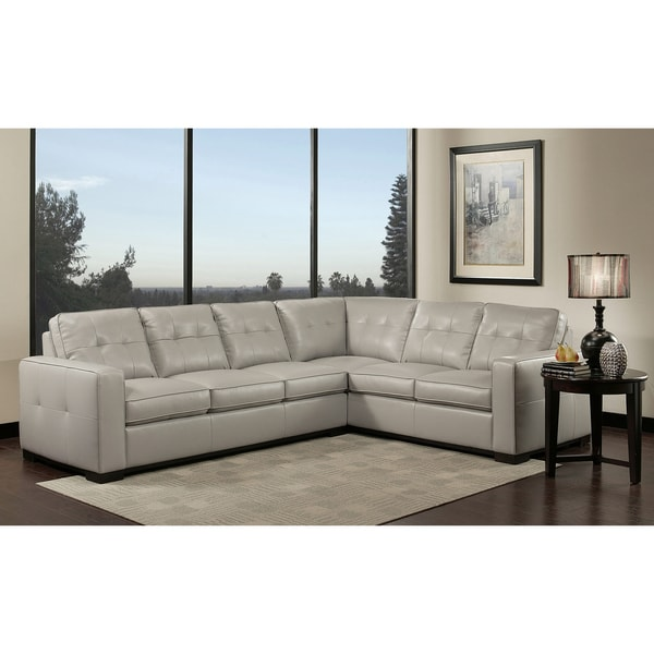 Westwood Grey Leather Sectional Sofa