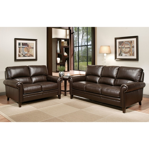 Room Store Chandler: Abbyson Living Chandler Brown Leather Sofa And Loveseat