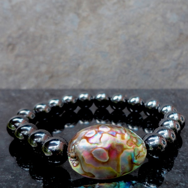 Pavcus Designs Abalone and Magnetic Hematite Gemstone Stretch Bracelet