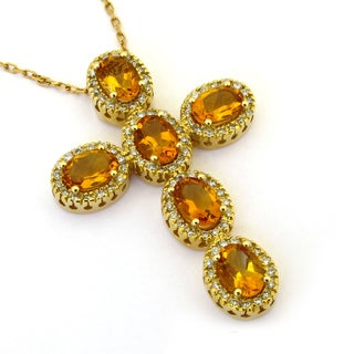 Sonia Bitton 14k Gold Citrine and 3/4ct TDW Diamond Necklace (G-H, SI1-SI2)