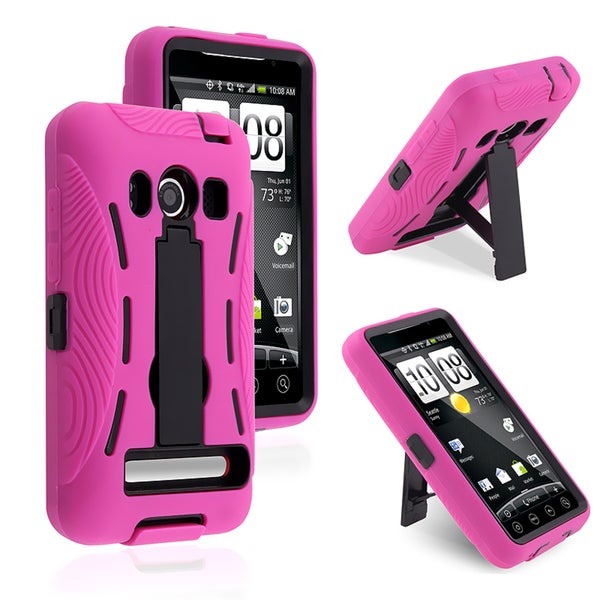 BasAcc Black/ Hot Pink Hybrid Case with Stand for HTC EVO 4G