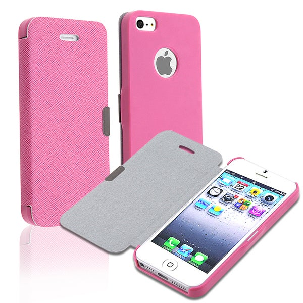 BasAcc Hot Pink Fabric Leather Case for Apple iPhone 5