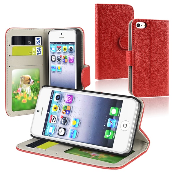 BasAcc Red Leather Wallet Case with Card Holder for Apple iPhone 5