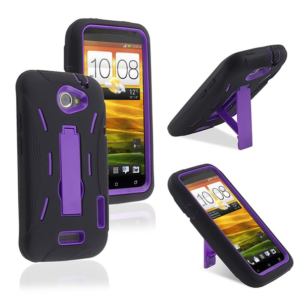 BasAcc Purple/ Black Hybrid Case with Stand for HTC One X