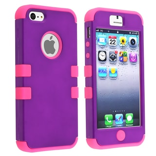 BasAcc Pink/ Purple Hybrid Case for Apple iPhone 5