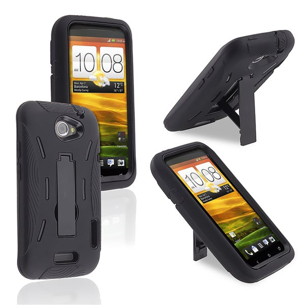 BasAcc Black Skin/ Black Hard Hybrid Case with Stand for HTC One X