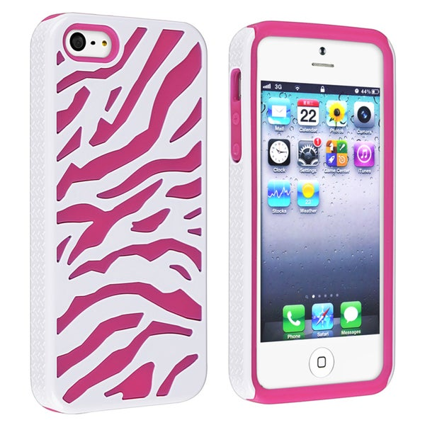 INSTEN Hot Pink/ White Hybrid Phone Case Cover for Apple iPhone 5/ 5S