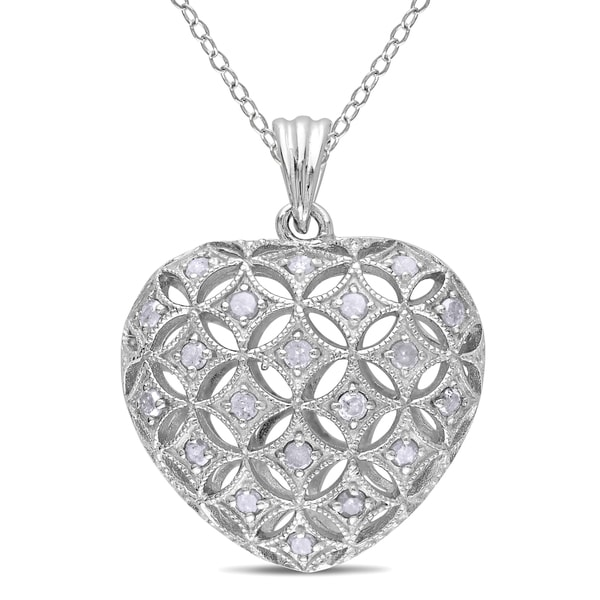 Sterling Silver 1ct TDW Diamond Heart Necklace (I-J, I2-I3)