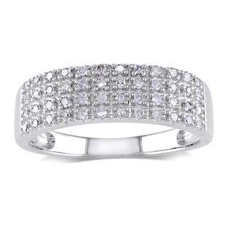 Miadora Sterling Silver 1/4ct TDW Pave Diamond Ring