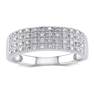 Miadora Sterling Silver 1/4ct TDW Pave Diamond Ring