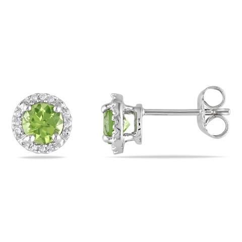 Miadora Sterling Silver Peridot and Diamond Stud Earrings (G-H, I1-I2)