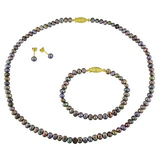 Miadora Gold-plated Cultured Freshwater Black Pearl Jewelry Set (5.5-6 mm)