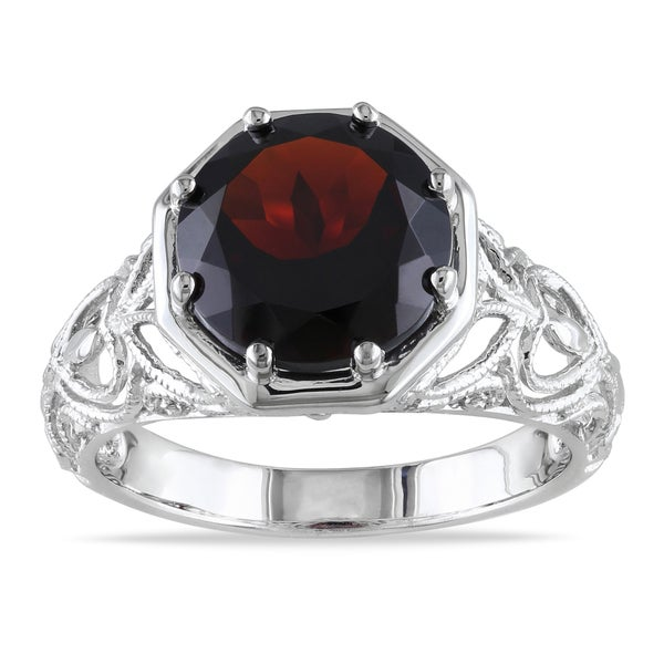 Miadora Sterling Silver Garnet Cocktail Ring