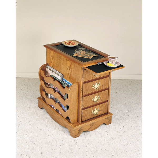 Powell Nostalgic Oak Cabinet Table with Magazine Rack