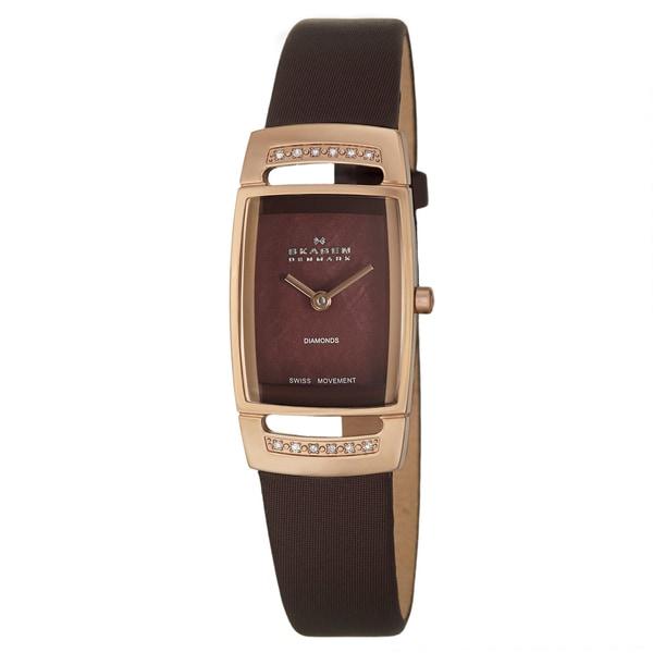 Skagen Women's Rectangular 'Swiss' Rose-Gold-Plated Stainless-Steel Diamond Watch