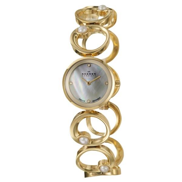 Skagen Women's 'Swiss' Yellow Goldplated Stainless Steel Quartz Watch