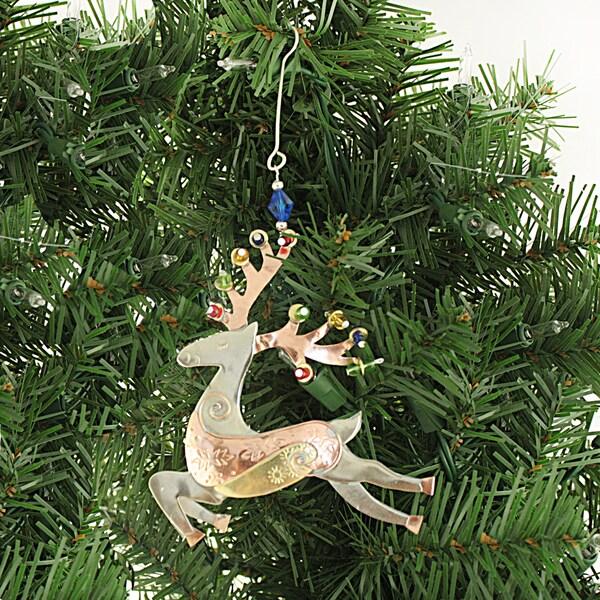 Handcrafted Reindeer Mixed Metals Beaded Ornament , Handmade in Thailand