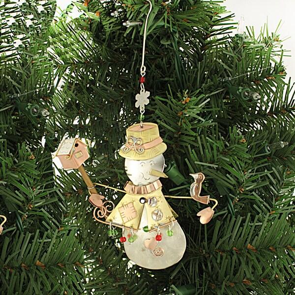 Handcrafted Snowman Mixed Metals Ornament (Thailand)