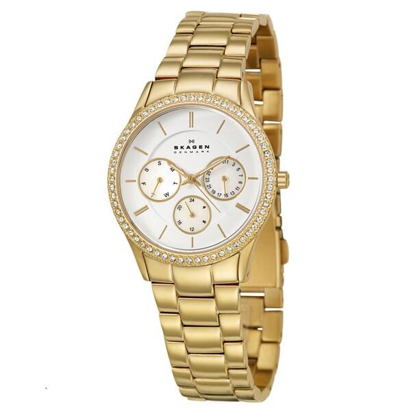 Skagen Women's 'Glitz' Yellow Goldplated Stainless Steel Crystal Watch