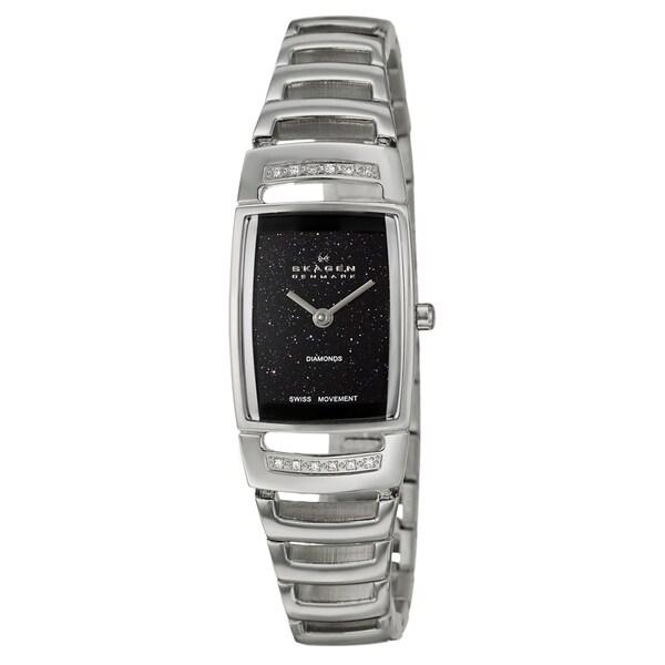 Skagen Women's Black-Dial Stainless-Steel White Diamond Watch