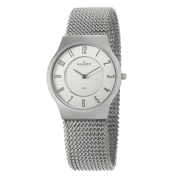 Skagen Men's Stainless-Steel Mesh Watch with Silver Dial