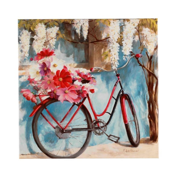 Fabrice de Villeneuve \'A Bike With Flowers\' Giclee Canvas Art ...
