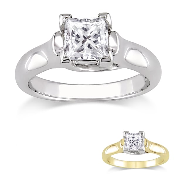Miadora Signature Collection 14k Gold 1ct TDW Certified Princess-cut Diamond Solitaire Ring